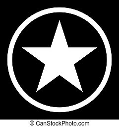 Star in circle  the white color icon .