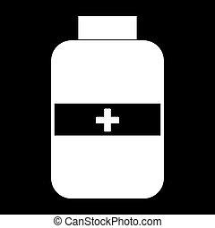 Medicine bottle  the white color icon .