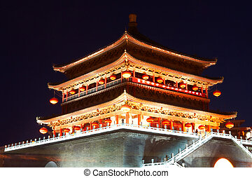 Drum tower at night, Xi'an, China