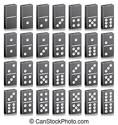 Domino Full Set Vector Realistic 3D Illustration. Black...