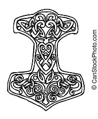 Cartoon image of Thor Hammer Icon. An artistic freehand...