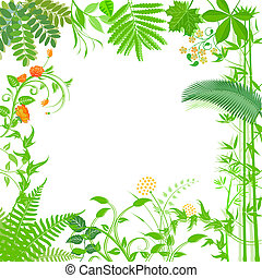 Floral Blumen - Background with green plants and flowers...