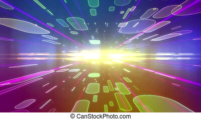 Abstract colorful futuristic backdrop with ovals moving...