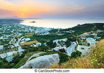 piękny, kastri, Kos, antena, wyspa, grecja, rano,...