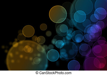 Perfect round bokeh background with yellow, orange, blue, green and purple tone on black ground.