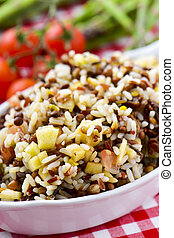 tray with lentil and rice salad - closeup of a white ceramic...