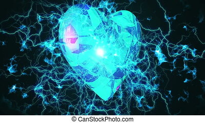 """Love Heart Rotates in Electric Lightning. "" - ""Love Heart..."