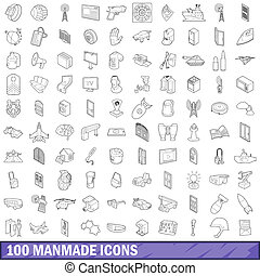 100 manmade icons set, outline style - 100 manmade icons set...