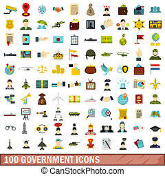 100 government icons set, flat style - 100 government icons...