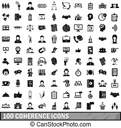 100 coherence icons set, simple style - 100 coherence icons...