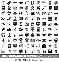 100 education technology icons set, simple style - 100...