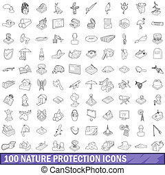 stile, contorno, natura,  set, Icone, protezione,  100