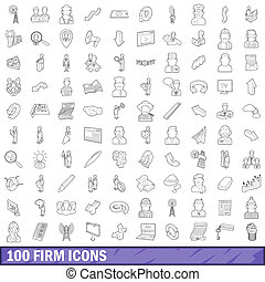 100 firm icons set, outline style - 100 firm icons set in...