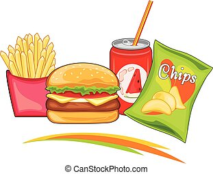 Delicious fast food. Vector illustration
