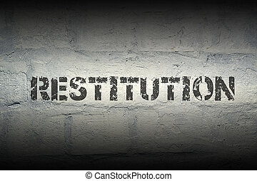 restitution WORD GR - restitution stencil print on the...