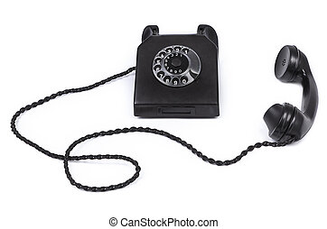 old bakelite telephone on white background
