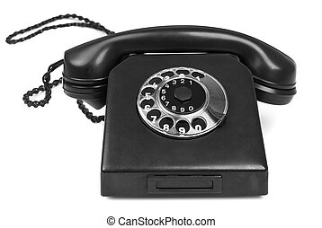 old bakelite telephone on white background, gentle natural...