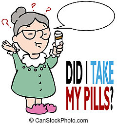 Woman Forgets To Take Her Medicine - An image of an elderly...