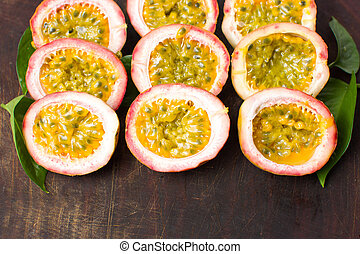 Bunch of halved passion fruit