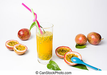 Passion fruit juice in a glass