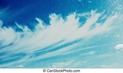 Very beautiful cirrus clouds time lapse on blue sky for...