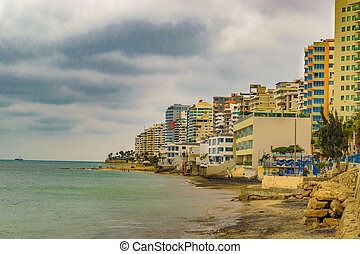 Salinas Beach, Ecuador - Beach and modern waterfront...