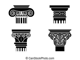 Set of silhouettes of capitals - A set of different...