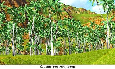 Paradise on Hawaii Island 3d rendering - Paradise on Hawaii...