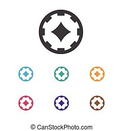 Vector Illustration Of Gambling Symbol On Poker Money Icon. Premium Quality Isolated Ace Of Diamonds Element In Trendy Flat Style.