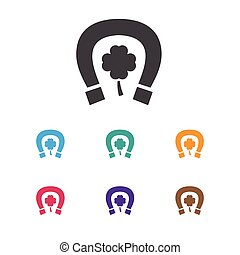 Vector Illustration Of Excitement Symbol On Lucky Items Icon. Premium Quality Isolated Horseshoe With Clover Element In Trendy Flat Style.