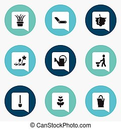 Set Of 9 Editable Planting Icons. Includes Symbols Such As...