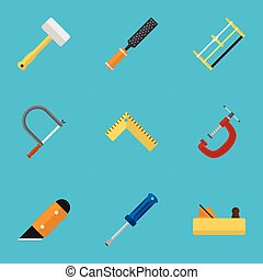 Set Of 9 Editable Equipment Icons. Includes Symbols Such As...