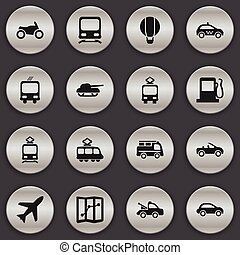 Set Of 16 Editable Transport Icons. Includes Symbols Such As Tramcar, Weapon, Auto And More. Can Be Used For Web, Mobile, UI And Infographic Design.