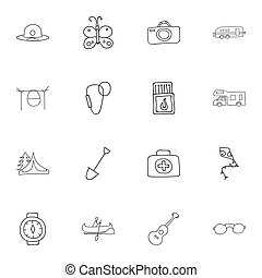 Set Of 16 Editable Camping Icons. Includes Symbols Such As...
