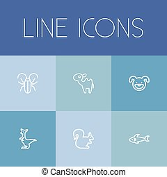 Set Of 6 Editable Zoo Icons. Includes Symbols Such As Kangaroo, Predator, Dromedary And More. Can Be Used For Web, Mobile, UI And Infographic Design.