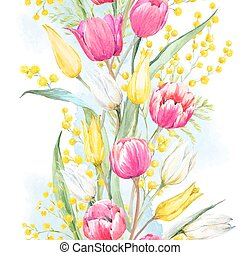 Watercolor mimosa and tulip vector pattern - Beautiful...