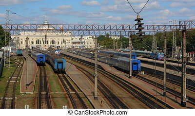 Railway station time-lapse in Odessa, Ukraine (Full HD)