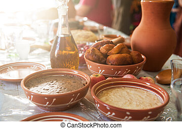 old slavonic food - table with traditional old slavonic food