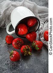 Strawberries in enamel mugs - Fresh juicy delicious...