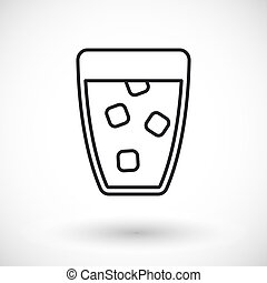 Glass of water vector vector thin line web icon
