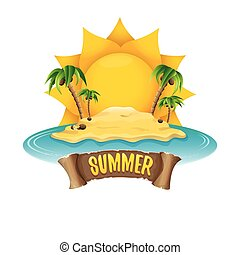 vector summer label with island tropical beach