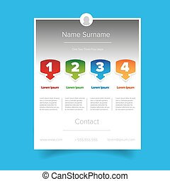 CV resume template vector - CV job template vector on blue