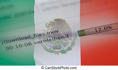 Downloading files on a computer, Mexico flag - Downloading...
