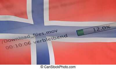 Downloading files on a computer, Norway flag - Downloading...