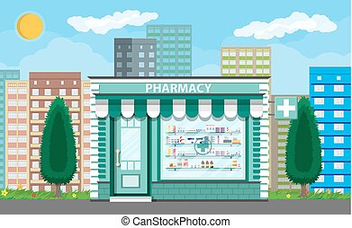 Modern exterior pharmacy or drugstore. Cityscape, tree,...