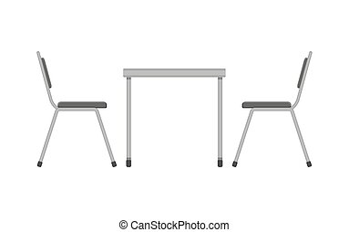 Table and chair. Restaurant furniture. Side view. Vector...