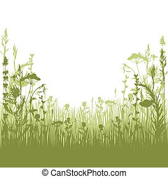 herbal silhouette background - silhouette meadow grass and...