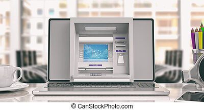 Online money concept. ATM machine and a laptop - office background. 3d illustration