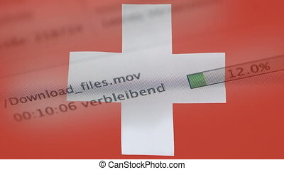 Downloading files on a computer, Switzerland flag -...