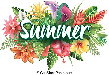 Summer banner from tropical flowers and plants